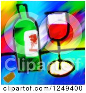 Clipart Of A Painting Of Red Wine In A Glass By A Bottle Royalty Free Illustration by Prawny