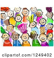 Clipart Of A Smudged Sketch Of Diverse Stick Kids Royalty Free Illustration