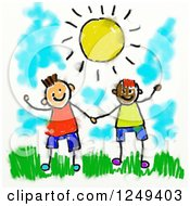 Clipart Of A Smudged Sketch Of Happy Boys Under The Sun Royalty Free Illustration
