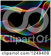 Clipart Of A Background Of Colorful Fractal Ribbon Waves On Black Royalty Free Illustration