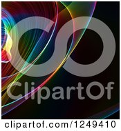 Clipart Of A Background Of Colorful Fractal Waves On Black Royalty Free Illustration