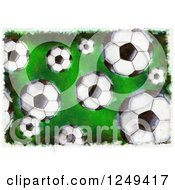 Grungy Background Of Soccer Balls