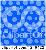 Clipart Of A Background Of Blue Polka Dots Royalty Free Illustration
