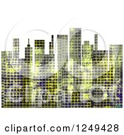Clipart Of A City Skyline With Distressed Grunge Over White Royalty Free Illustration