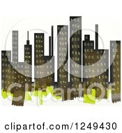 Clipart Of A Painted City Skyline Over White Royalty Free Illustration
