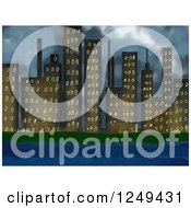 Clipart Of A Waterfront City Skyline With Stormy Skies Royalty Free Illustration