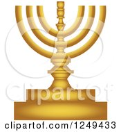 Clipart Of A Gold Menorah Lampstand Royalty Free Illustration