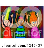 Clipart Of A Painting Of Screaming Children Royalty Free Illustration