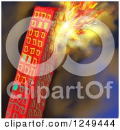 Clipart Of A Skyscraper Building On Fire Royalty Free Illustration