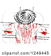 Clipart Of A Black And White Christ With Red Blood On The Cross Royalty Free Illustration by Prawny