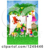 Clipart Of Children Celebrating The Feast Of Booths Royalty Free Illustration
