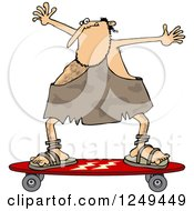 Clipart Of A Skateboarding Caveman Holding His Arms Up Royalty Free Vector Illustration by Dennis Cox