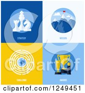 Clipart Of Strategy Mission Challenge And Award Business Icons Royalty Free Vector Illustration