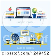 Clipart Of Back To School Shelves Royalty Free Vector Illustration by elena