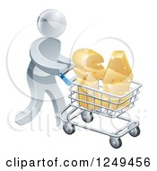 Clipart Of A 3d Silver Man Pushing SALE In A Shopping Cart Royalty Free Vector Illustration