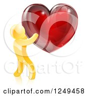 Clipart Of A 3d Gold Man Holding A Red Heart Royalty Free Vector Illustration by AtStockIllustration