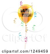 Clipart Of A 3d Yellow Party Balloon And Confetti Ribbons With Happy Birthday Text Royalty Free Vector Illustration