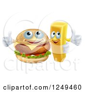Clipart Of A Happy Cheeseburger And French Fry Holding Thumbs Up Royalty Free Vector Illustration