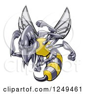 Clipart Of A Tough Wasp Mascot Holding Up Fists Royalty Free Vector Illustration