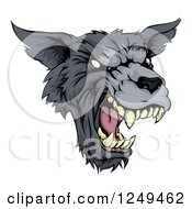 Clipart Of A Growling Fierce Wolf Mascot Head Royalty Free Vector Illustration by AtStockIllustration