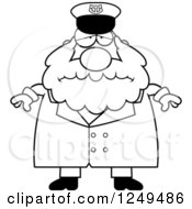 Clipart Of A Black And White Depressed Chubby Sea Captain Man Royalty Free Vector Illustration