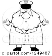 Clipart Of A Black And White Careless Shrugging Chubby Sea Captain Man Royalty Free Vector Illustration