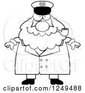 Clipart Of A Black And White Happy Chubby Sea Captain Man Smoking A Pipe Royalty Free Vector Illustration