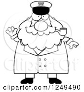 Clipart Of A Black And White Friendly Waving Chubby Sea Captain Man Smoking A Pipe Royalty Free Vector Illustration