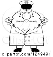 Clipart Of A Black And White Mad Chubby Sea Captain Man With Balled Fists Royalty Free Vector Illustration