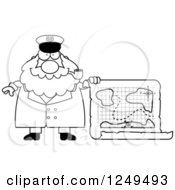 Clipart Of A Black And White Happy Chubby Sea Captain Man With A Map Royalty Free Vector Illustration
