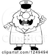 Clipart Of A Black And White Smart Chubby Sea Captain Man With An Idea Royalty Free Vector Illustration