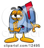 Clipart Picture Of A Blue Postal Mailbox Cartoon Character Whispering And Gossiping by Toons4Biz