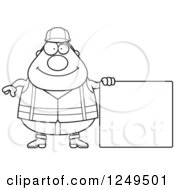 Black And White Happy Chubby Road Construction Worker Man Holding A Blank Sign