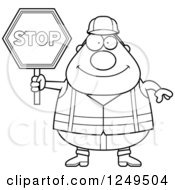Black And White Happy Chubby Road Construction Worker Man Holding A Stop Sign