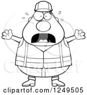 Black And White Scared Screaming Chubby Road Construction Worker Man