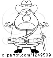 Clipart Of A Black And White Mad Chubby Civil War Confederate Soldier Man With Balled Fists Royalty Free Vector Illustration