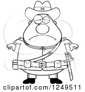Clipart Of A Black And White Depressed Chubby Civil War Confederate Soldier Man Royalty Free Vector Illustration