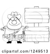Clipart Of A Black And White Happy Chubby Civil War Confederate Soldier Man With Blank Wood Signs Royalty Free Vector Illustration