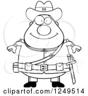 Clipart Of A Black And White Happy Chubby Civil War Confederate Soldier Man Royalty Free Vector Illustration