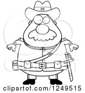 Clipart Of A Black And White Chubby Civil War Confederate Soldier Man Royalty Free Vector Illustration
