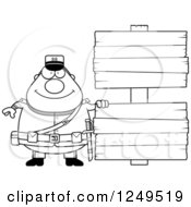 Clipart Of A Black And White Happy Chubby Civil War Union Soldier Man With Wooden Signs Royalty Free Vector Illustration