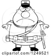 Clipart Of A Black And White Depressed Chubby Civil War Union Soldier Man Royalty Free Vector Illustration