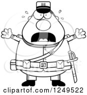 Clipart Of A Black And White Scared Screaming Chubby Civil War Union Soldier Man Royalty Free Vector Illustration