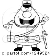 Clipart Of A Black And White Smart Chubby Civil War Union Soldier Man With An Idea Royalty Free Vector Illustration