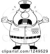 Clipart Of A Black And White Scared Screaming Chubby Navy Admiral Man Royalty Free Vector Illustration