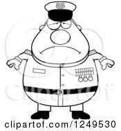 Clipart Of A Black And White Depressed Chubby Navy Admiral Man Royalty Free Vector Illustration