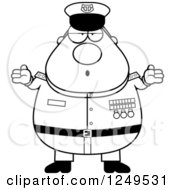 Clipart Of A Black And White Careless Shrugging Chubby Navy Admiral Man Royalty Free Vector Illustration