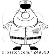 Clipart Of A Black And White Happy Chubby Navy Admiral Man Royalty Free Vector Illustration