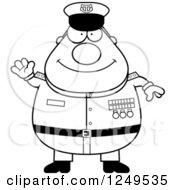 Clipart Of A Black And White Friendly Waving Chubby Navy Admiral Man Royalty Free Vector Illustration by Cory Thoman