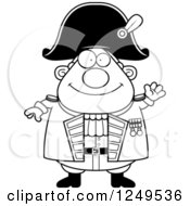 Clipart Of A Black And White Friendly Waving Chubby Old Admiral Man Royalty Free Vector Illustration by Cory Thoman